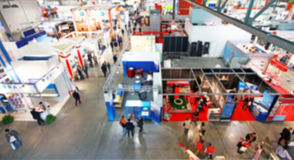 Trade show, intentionally blurred background Royalty Free Stock Photography