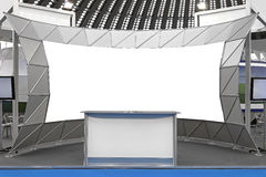 Trade Show Stand. Fair Trade Show Couner and Backdrop Empty Space royalty free stock photos