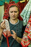 Trade Slavic household items at the festival of historical clubs in the Kaluga region of Russia. Stock Photography
