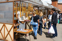 Trade souvenir of amber in the street. Kaliningrad Stock Photography