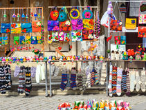 Trade of souvenirs in the street at Sighnaghi city. Georgia stock image