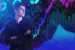 Trade and stock concept. Handsome european businessman with folded arms standing on abstract forex chart background. Trade and stock concept. Double exposure royalty free stock photos