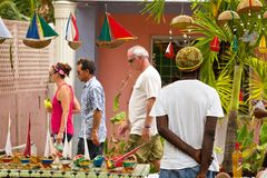 Trade on Streets of Bequia, Caribbean Royalty Free Stock Image