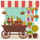 Trade tent with beautiful flowers in pots illustration Stock Photos