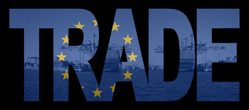 Trade text with EU flag Royalty Free Stock Photo