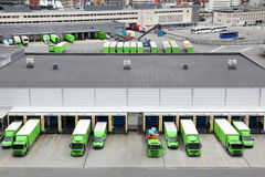 Trade trucks. BERGEN - JUNE 27: Trade trucks on JUNE 27, 2011 in Bergen, Norway. Norway takes 8th place in world ranking of competitiveness. This rating shows stock photography