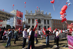 Trade union demonstration in Rome Royalty Free Stock Photo