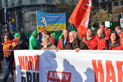 Trade union representative during manifestation against austerity Royalty Free Stock Images