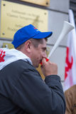Trade unionists during a demonstration in Warsaw - Poland Stock Images