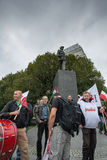 Trade unionists during a demonstration in Warsaw - Poland Stock Photos