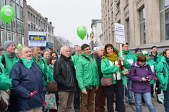Trade Unions protest against decision of Delhaize supermarket Stock Images
