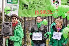 Trade Unions protests against politics of Delhaize Stock Photos