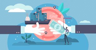 Free Trade Vector Illustration. Flat Tiny Global Financial Deals Persons Concept Royalty Free Stock Image - 157126996