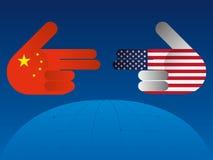 Trade war between China and USA. Trade war America China tariff business global exchange international vector illustration