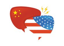 Trade war, America China tariff business global exchange international. USA versus China . two speech bubbles face to vector illustration
