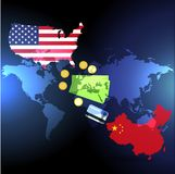 Trade war between China and the US, currency and purchases. Flag of USA and China. Vector vector illustration