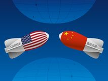 Trade war between China and USA. Trade war America China tariff business global exchange international Stock Photography