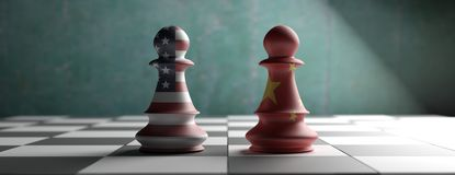 China vs USA, chess pawns on a chessboard. 3d illustration