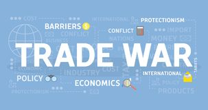 Trade war concept. Trade war concept illustration with econoics and politics Royalty Free Stock Images