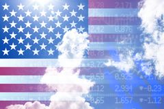 Trade war concept with us flag on cloudy sky stockwall background royalty free stock photos