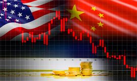 Trade war economy USA America and China flag candlestick graph Stock market exchange analysis vector illustration