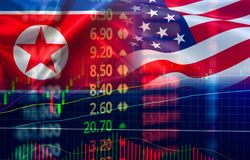 Trade war economy USA America and North Korea flag candlestick graph Stock market exchange analysis royalty free stock photos