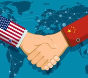 Trade war policy between the USA and China. Handshake of two people. royalty free stock photos