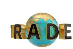 Trade word and globe on white background 3D illustration. Trade word and globe on white background 3D illustration royalty free illustration