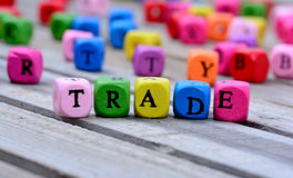 Trade word on table Royalty Free Stock Image