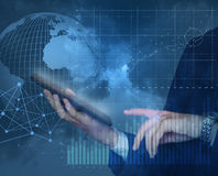 Trade on the world market with the help of new technologies. Stock Images