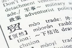 Trade written in Chinese Royalty Free Stock Photography