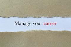 Manage your career heading. Behind brown paper stock image