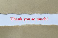 Thank you so much. A torn brown paper background revealing the text Thank you so much stock photography