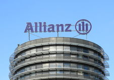 Trademark of Allianz. Trademark of the insurance company Allianz in Czech Republic - logo on top of the house of headquarter of Czech branch of Allianz royalty free stock photos
