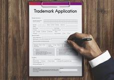 Trademark Application Document Form Concept. Application Form Trademark Information Concept stock photos