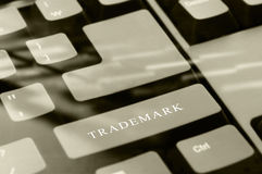 Trademark. Black computer keyboard with Trademark word button with soft focus royalty free stock images