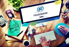Trademark Brand Rights Protection Copyright Concept. People Checking Trademark Brand Rights Protection Copyright stock images