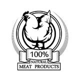 Trademark with a chicken. Logo 100% natural meat. Trademark with a chicken. Black silhouette of a hen. Professional label Royalty Free Stock Image