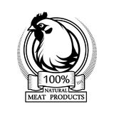 Trademark with a chicken. Logo 100% natural meat. Trademark with a chicken. Black silhouette of a hen. Professional label Royalty Free Stock Images