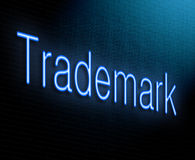 Trademark concept. Illustration depicting an illuminated neon sign with a trademark concept Stock Images