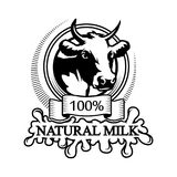 Trademark with a cow head. Logo 100% natural meat. Trademark with a cow head. Black silhouette of a bull. Professional label Royalty Free Stock Photo