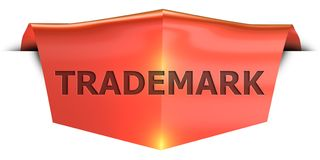 Banner trademark. Trademark 3D rendered red banner , isolated on white background Stock Images