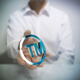 Trademark. Man holding metallic trademark symbol. Concept image for illustration of intellectual property or protection of products or services royalty free stock photography