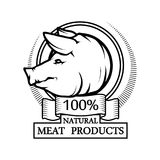 Trademark with a Pig head. Logo 100% natural meat. Trademark with a Pig head. Black silhouette of a Pork. Professional label Stock Photos