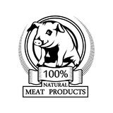 Trademark with a Pig head. Logo 100% natural meat. Trademark with a Pig head. Black silhouette of a Pork. Professional label Stock Image