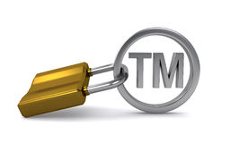 Trademark sign. Protected with padlock on the white background (3d render Royalty Free Stock Images