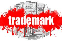 Trademark word cloud. Concept on white background, 3d rendering Royalty Free Stock Photo