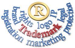 Trademark words around IP R symbol. Intellectual property Trademark R symbol in gold circle with IP words Stock Photography