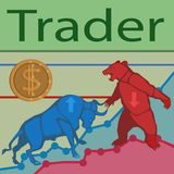 Trader bulls and bears. Trade bulls prices up and bears prices down constantly goes the struggle for prices to buy and sell to earn a lot of money vector illustration