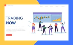 Trader Buying and Selling Stock, Bond or Commodity or Derivative and Mutual Fund Landing Page. Professional Working in a Financial. Corporation Website or Web royalty free illustration